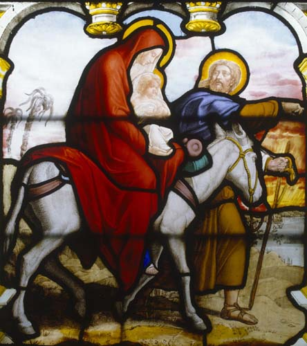 Flight into Egypt, 19th century stained glass, Church of St Aignan, Chartres, France