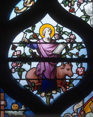 St Luke, 19th century stained glass, Church of St Aignan, Chartres, France