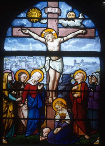 Crucifixion, 19th century stained glass, Church of St Aignan, Chartres, France