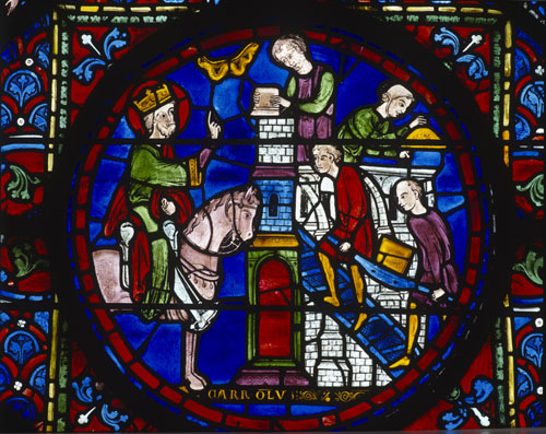 Charlemagne builds a church in Spain, 13th century stained glass, Chartres Cathedral, France