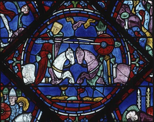 Roland fighting Saracen King Marsile, Charlemagne window, 13th century stained glass, Chartres Cathedral, France