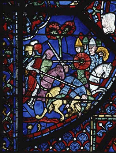 Battle of Jerusalem, Charlemagne window, 13th century stained glass, Chartres Cathedral, France