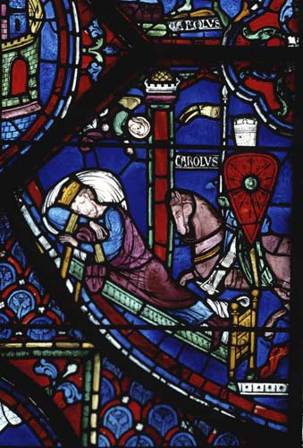 Constantines vision, Charlemagne window, 13th century stained glass, Chartres Cathedral, France