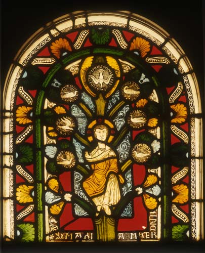Christ with symbols of six qualities of the Holy Spirit, 12th century stained glass by Master Gerlachus, Munster Landesmuseum, Germany