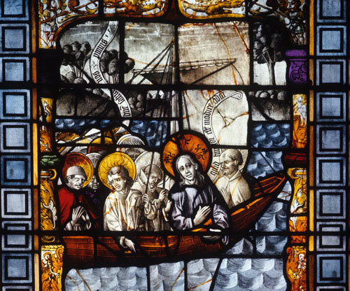 Jesus and the Apostles on the Sea of Galilee panel in the Chapel of the Sacrements Cologne Cathedral 15th century