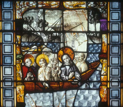 Stilling the storm, 15th century stained glass, Sacraments Chapel, Cologne Cathedral, Germany