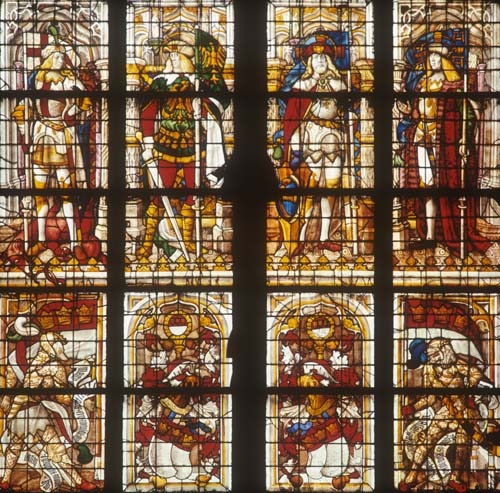 St George, St Mauritius, St Gregorius Maurus, St Gereon, 16th century stained glass, Cologne Cathedral, Germany