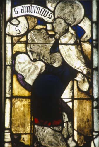 St Ambrosius wearing glasses, Konhofer window, 15th century stained glass, Lorenzkirche, Nuremberg, Germany