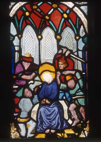 Mocking of Christ, 15th stained glass by Hans Acker, Besserer Chapel, Ulm Cathedral, Germany