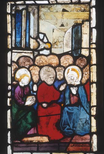 Pentecost, 15th century stained glass by Hans Acker, Besserer Chapel, Ulm Cathedral, Germany
