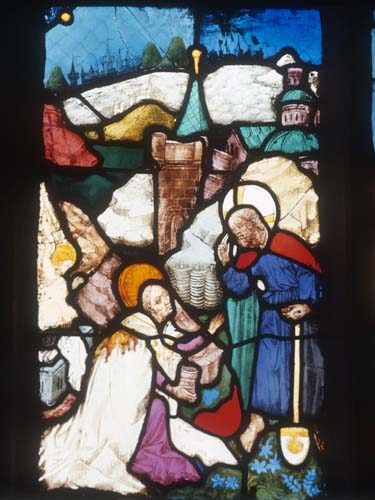 Mary Magdalene meets Christ in the Garden, 15th century stained glass by Hans Acker, Besserer Chapel, Ulm Cathedral