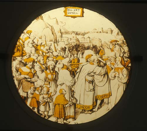 Joseph greeting Jacob, 16th century yellow stained glass, Darmstadt Museum, Germany