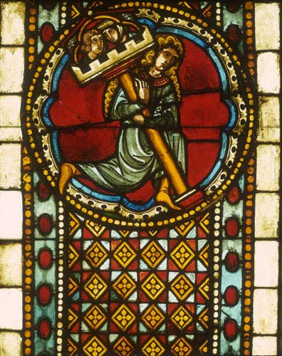 Samson and the pillar, 13th century stained glass from Bad Wimpfen, now in Darmstadt Museum, Germany
