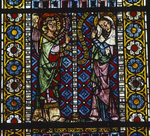 Annunciation, 14th century stained glass, Freiburg Munster, Germany