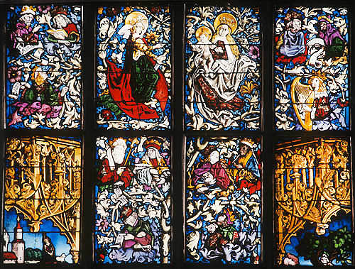 Volkamer window, 1480, detail of David, etc., by Peter Hemmel von Andlau, Lorenzkirche, Nuremberg, Germany
