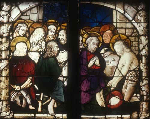 Last Supper and Washing of Feet, 15th century stained glass, Haller Window, Lorenzkirche, Nuremberg, Germany