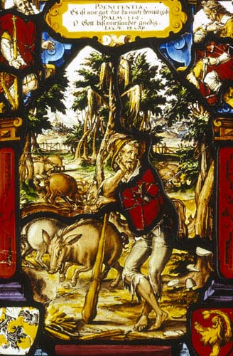 Parable of the prodigal son, stained glass panel by Christoph Murer 1610, now in the Tucherschloss Museum, Nuremberg (Nurnberg), Germany