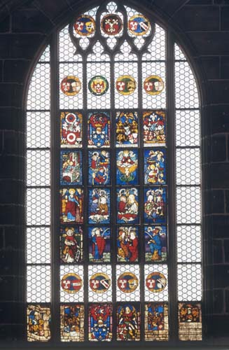 Christs earthly relatives, Hirsvogel window, 15th century stained glass, Lorenzkirche, Nuremberg, Germany
