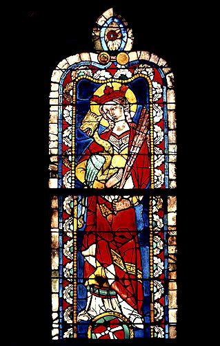 St Margaret, 14th century stained glass, north east triforium, choir of Regensburg Cathedral, Germany