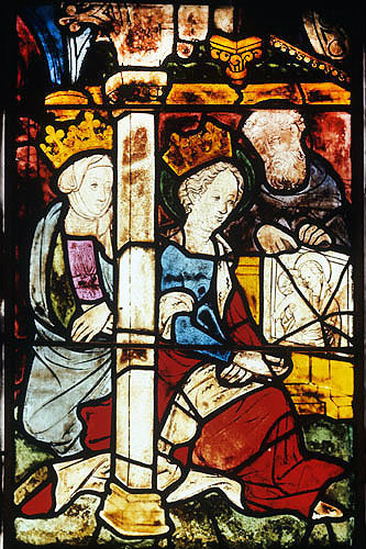 St Luke presenting painting of Virgin and Child to St Pulcheria, fifth century Byzantine Empress, detail, fifteenth century window, Jakobskirche, Straubing, Germany
