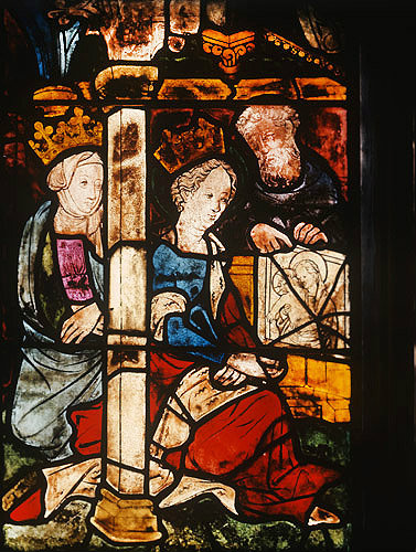 Painting of the Virgin by St Luke being given by Empress Eudoxia to St Pulcheria from Jerusalem, Passion window, fifteenth century, Jacob