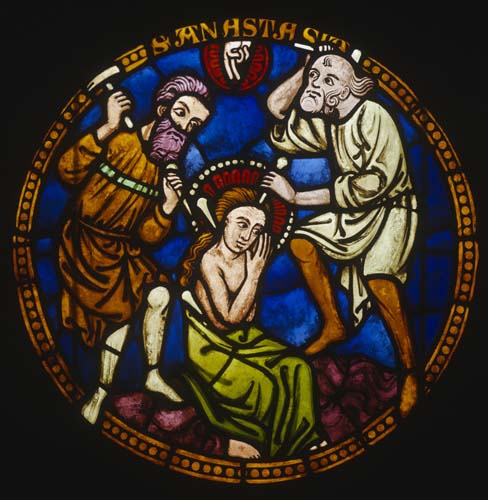 St Anastasia, Martyrs Window, 20th century copy of 13th century stained glass from Freiburg Munster, now in Freiburg Museum, Germany