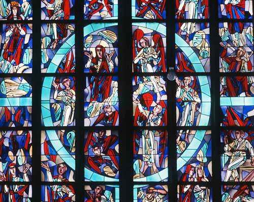 Rozenkranz window by Wilhelm Geye, twentieth century, Aachen, Cathedral, Germany