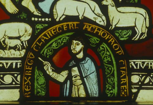Self-portrait by Master Gerlachus, stained glass maker, holding paint pot and paint brush, 12th century stained glass, Munster Landesmuseum, Germany
