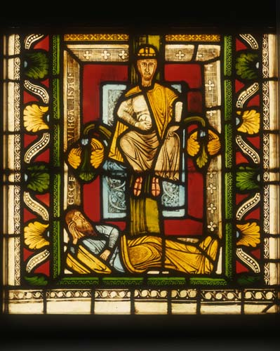 Jesse and David, from Jesse Tree, 12th century stained glass by Master Gerlachus, Munster Landesmuseum, Germany