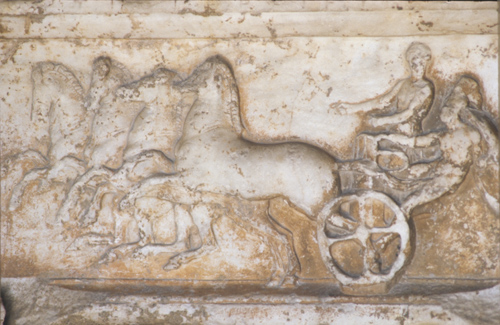 Frieze on monument base, 4th century BC, commemorating victory in chariot race in Panathenaic Games, Stoa of Attalus, Athenian Agora, Athens, Greece