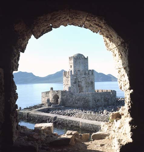 Bourzi Tower seen from Venetian Fortress, Methoni, Greece