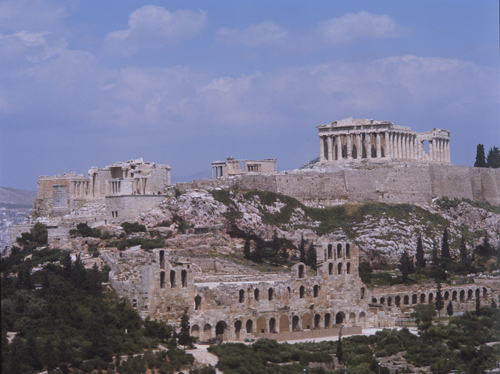 Acropolis, south west side, from left to right, the Propylaea, Temple of Athena Nike and the Erectheum, the Parthenon and Odeum of Herodes Atticus below, Athens, Greece