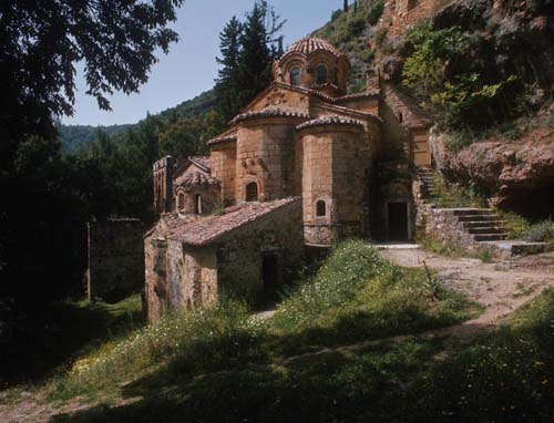 Peribleptos Monastery, east side, ruined 14th century Byzantine city, Mistra, Greece