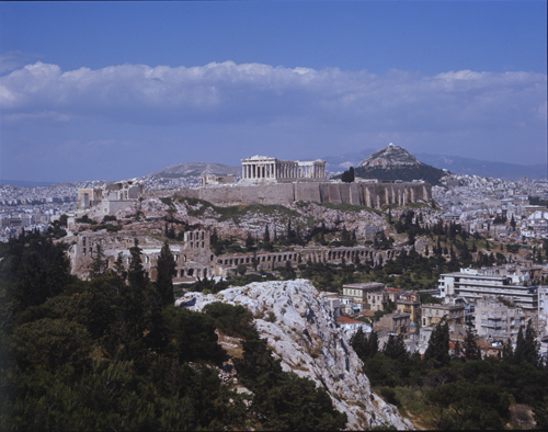 Acropolis, south west side viewed from the monument of Philpappus 114-116 C AD on the Hill of Muses, Athens, Greece