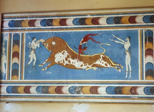 Bull Leap fresco circa 1500 BC (restored), Knossos, Crete, Greece