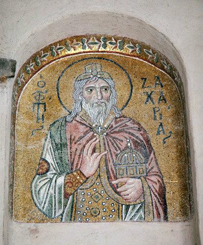 Prophet Zacharias Mosaic Daphni Monastery Greece 11th century