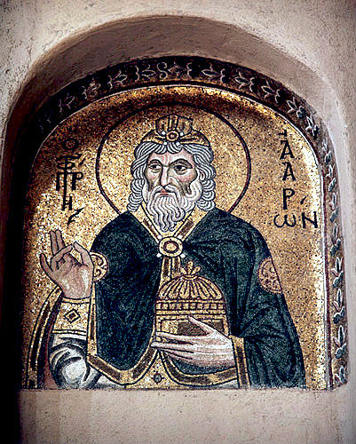 Aaron, prophet, high priest and brother of Moses, eleventh century mosaic, Daphni, Greece