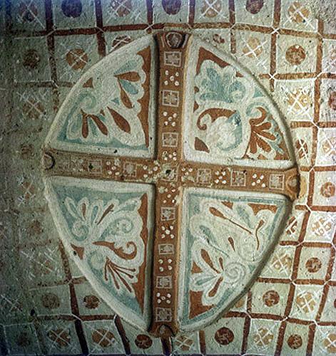Floral cross, circa 1070, Sakli Kilise (Hidden Church), or Church of St John, Goreme, Cappadocia, Turkey