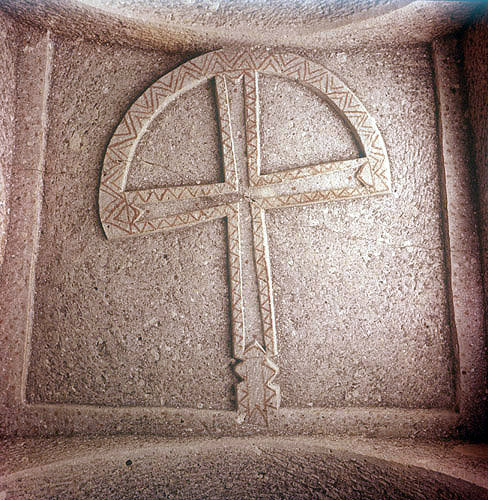 Crooked cross, seventh to ninth century, carved on ceiling of entrance to mausoleum, Macan, Cappadocia, Turkey