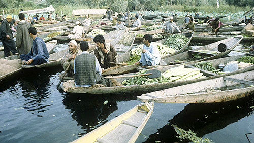 India, Kashmir, Lake Dal, lakeside traders