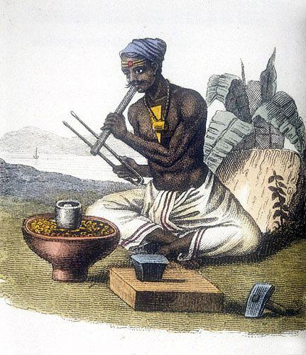 Goldsmith, nineteenth century Hindustani engraving, Hindustan, India