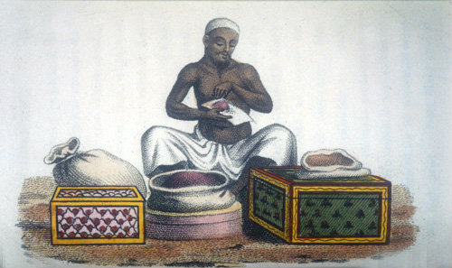 Dealer in perfumery, nineteenth century Hindustani engraving, Hindustan, India