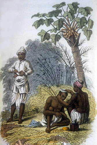 Two barbers working in open air, nineteenth century Hindustani engraving, Hindustan, India