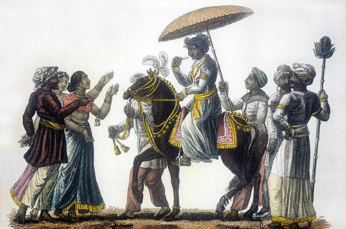 Bridegroom on horseback conducted in state to his wedding, nineteenth century Hindustani engraving, Hindustan, India