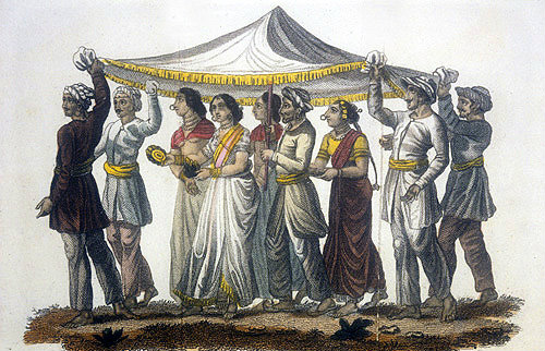 Father of the bride with nuptial procession, nineteenth century Hindustani engraving, Hindustan, India