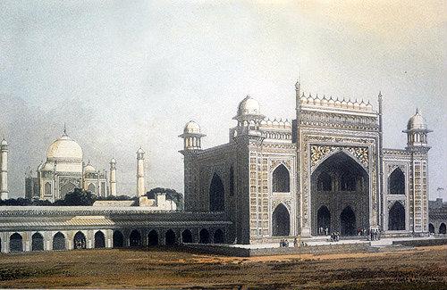 Taj Mahal, Agra, commissioned 1632 by Mughal Emperor Shah Jehan for tomb of Mumtaz Mahal, nineteenth century Hindustani engraving, Hindustan, India