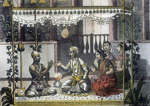 Bridegroom swearing in front of the brahmin (priest), nineteenth century Hindustani engraving, Hindustan, India
