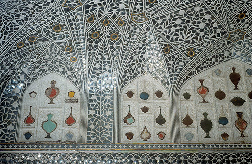 Amber Fort, begun 967,  decorative mirror work, Amer, Jaipur, Rajastan, India