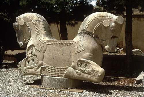 Iran Formerly Persia Persepolis Capital Of The Achaemenid Empire Sculpted Double Headed Horse Capital Of Column