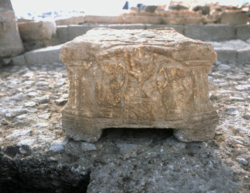 Israel Magdala, Galilee, stone with relief of seven-branched menorah and amphora at newly excavated first century synagogue